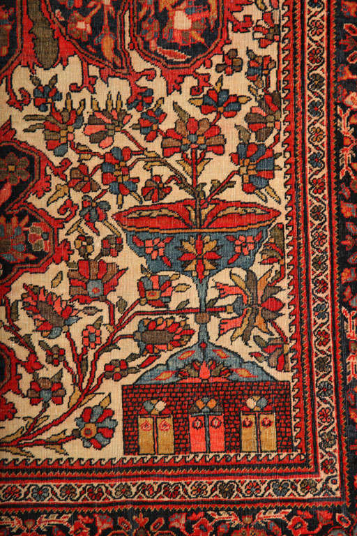 1890 Persian Fereghan Rug with Handspun Wool and Organic Vegetable Dyes For Sale 1