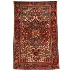 1890 Persian Fereghan Rug with Handspun Wool and Organic Vegetable Dyes