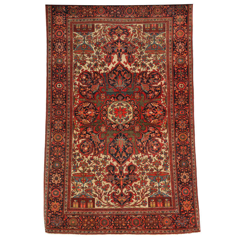 1890 Persian Fereghan Rug with Handspun Wool and Organic Vegetable Dyes For Sale