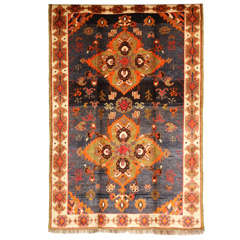 1930 Double Medallion Persian Gabbeh Rug in Pure Handspun Wool and Vegetal Dyes