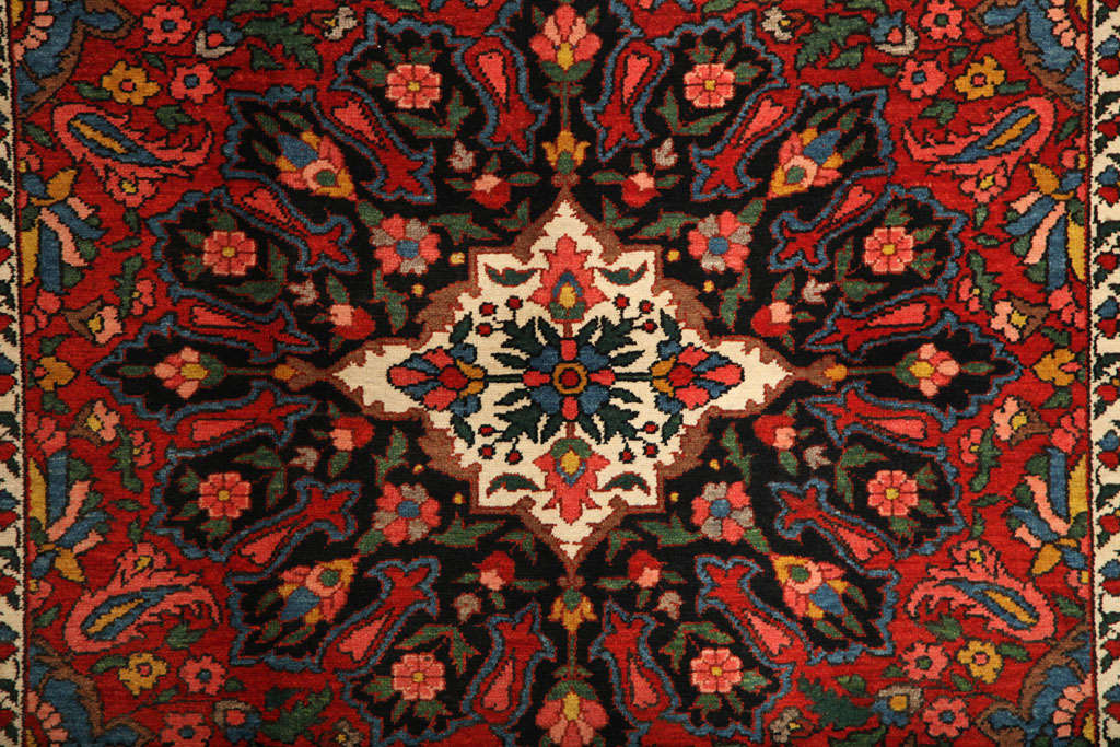 Persian 1920 Bibibaft Bakhtiari Carpet with Pure Wool Pile and Organic Vegetal Dyes For Sale