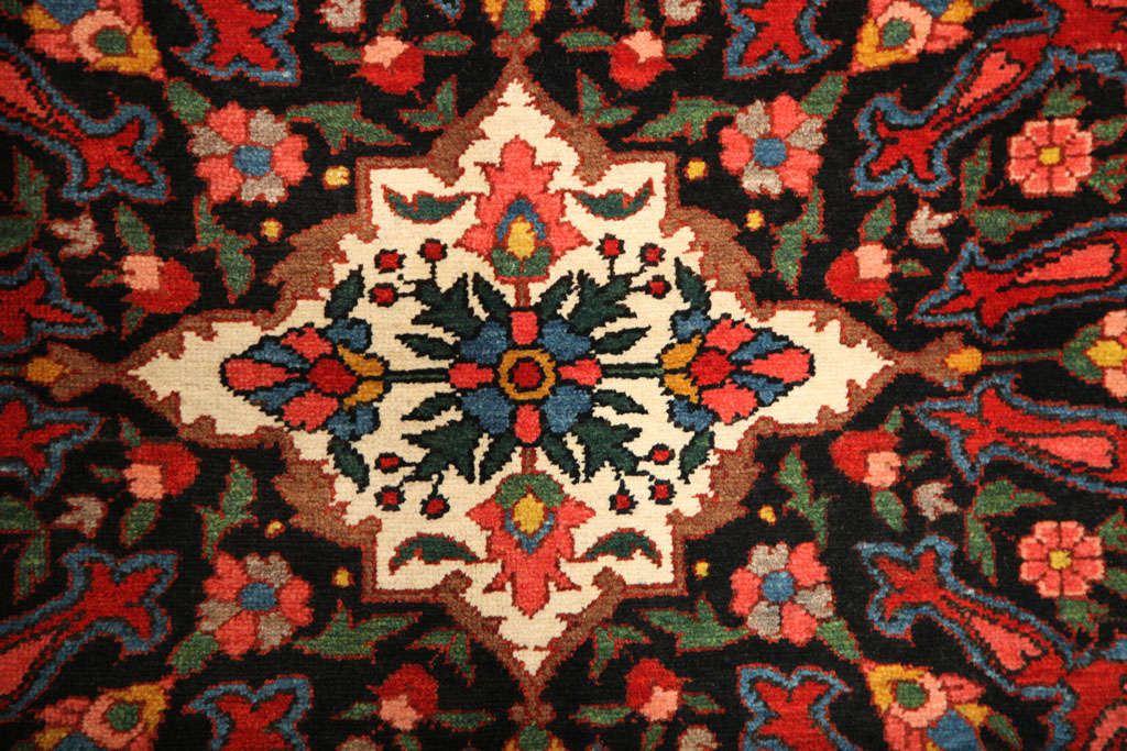 Hand-Knotted 1920 Bibibaft Bakhtiari Carpet with Pure Wool Pile and Organic Vegetal Dyes For Sale