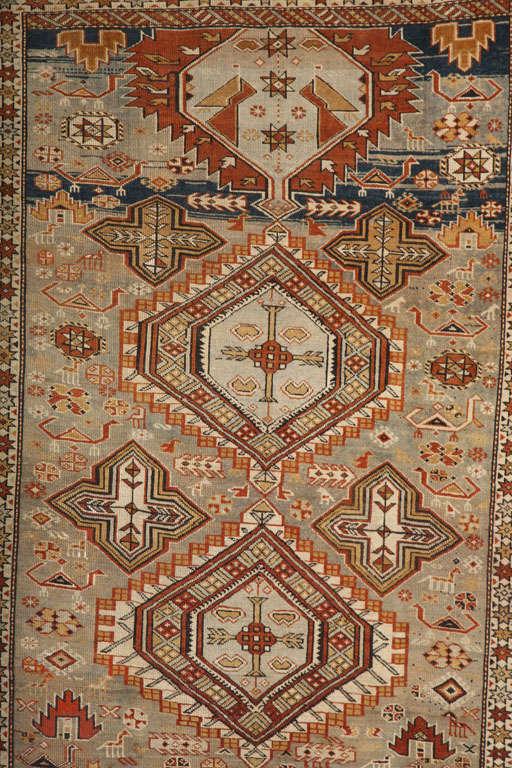 Kazak 1880s Shirvan Rug in Pure Handspun Wool with Organic Vegetable Dyes