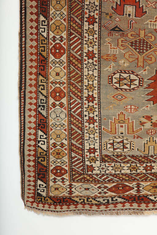 Caucasian 1880s Shirvan Rug in Pure Handspun Wool with Organic Vegetable Dyes