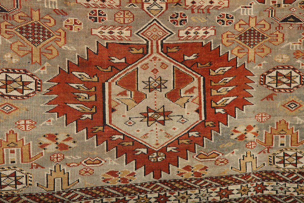 Hand-Knotted 1880s Shirvan Rug in Pure Handspun Wool with Organic Vegetable Dyes