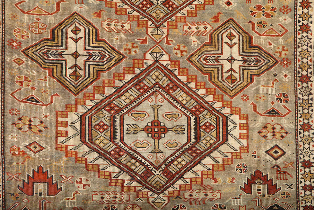 1880s Shirvan Rug in Pure Handspun Wool with Organic Vegetable Dyes In Excellent Condition In New York, NY