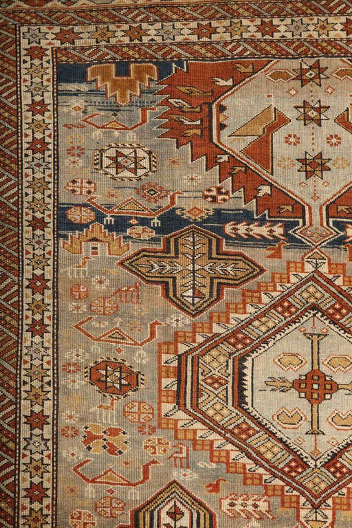 Late 19th Century 1880s Shirvan Rug in Pure Handspun Wool with Organic Vegetable Dyes