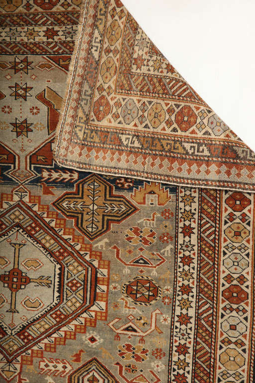 1880s Shirvan Rug in Pure Handspun Wool with Organic Vegetable Dyes 3