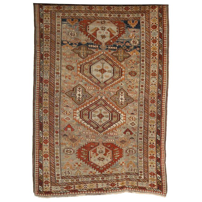 1880s Shirvan Rug in Pure Handspun Wool with Organic Vegetable Dyes