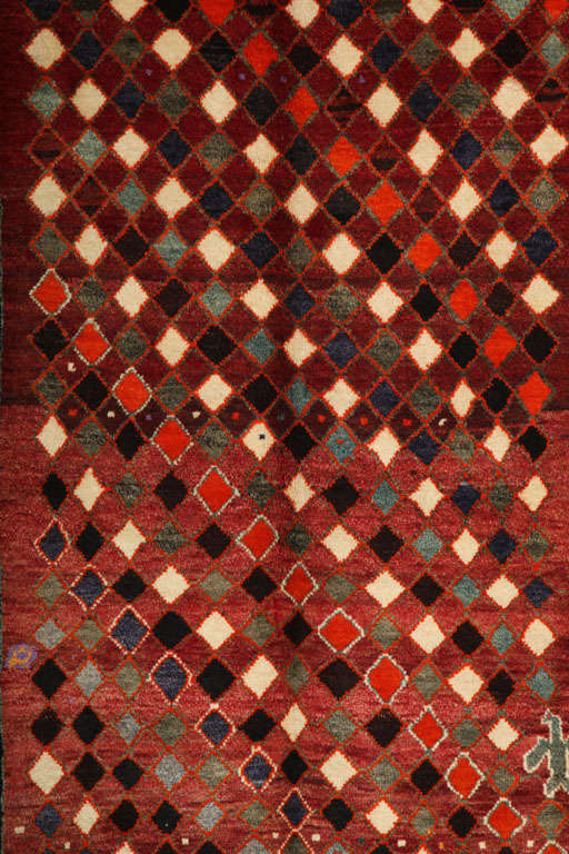 Vegetable Dyed 1930 Persian Gabbeh Rug in Handspun Wool and Organic Vegetable Dyes For Sale