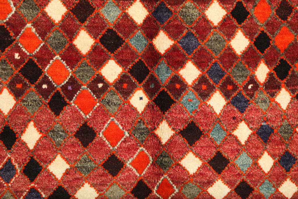 1930 Persian Gabbeh Rug in Handspun Wool and Organic Vegetable Dyes For Sale 1