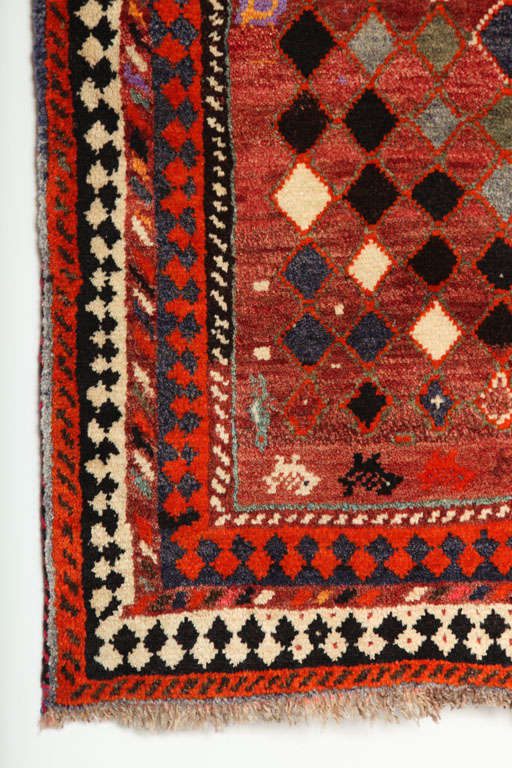 1930 Persian Gabbeh Rug in Handspun Wool and Organic Vegetable Dyes For Sale 2