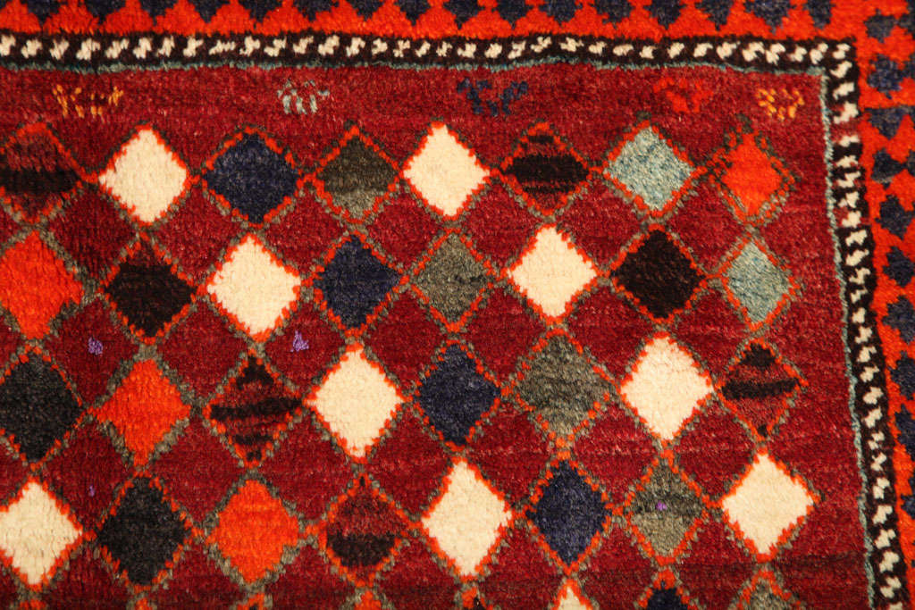 1930 Persian Gabbeh Rug in Handspun Wool and Organic Vegetable Dyes For Sale 4