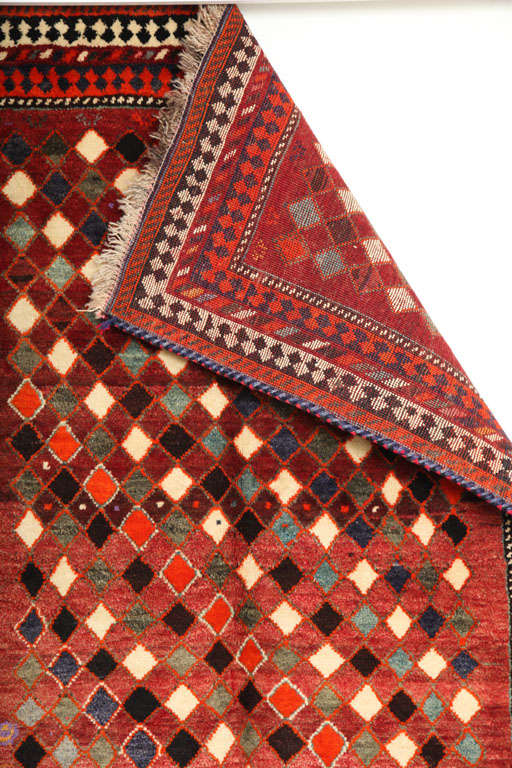 1930 Persian Gabbeh Rug in Handspun Wool and Organic Vegetable Dyes For Sale 5