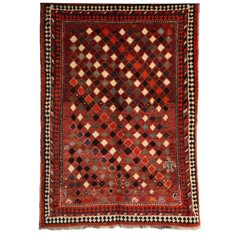 1930 Persian Gabbeh Rug in Handspun Wool and Organic Vegetable Dyes For Sale