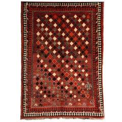 1930 Persian Gabbeh Rug in Handspun Wool and Organic Vegetable Dyes