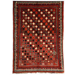 1930 Persian Gabbeh Rug in Handspun Wool and Organic Vegetable Dyes