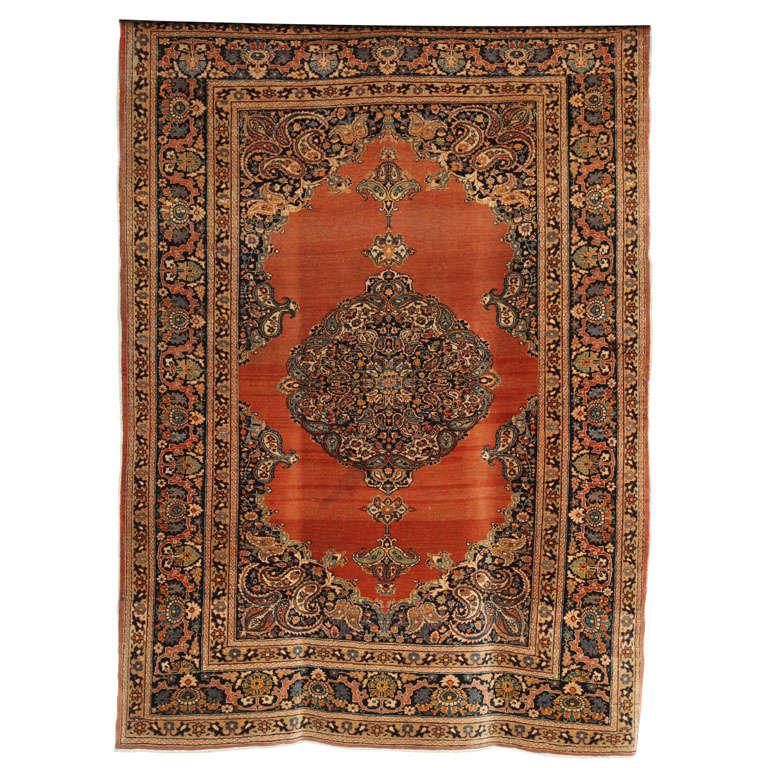 1890 Haji Jalili Tabriz Rug with Bright Copper Field and Ornate Medallion Design For Sale