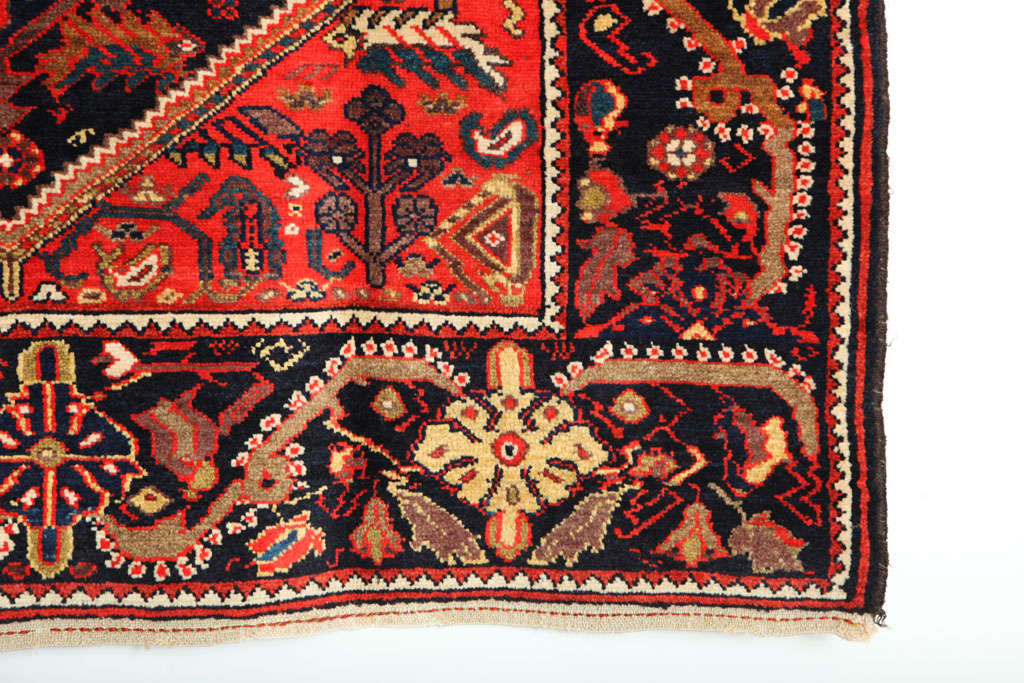 Hand-Knotted 1900-1910 Persian Mishan Malayer Rug with Handspun Wool and Organic Vegetal Dyes For Sale