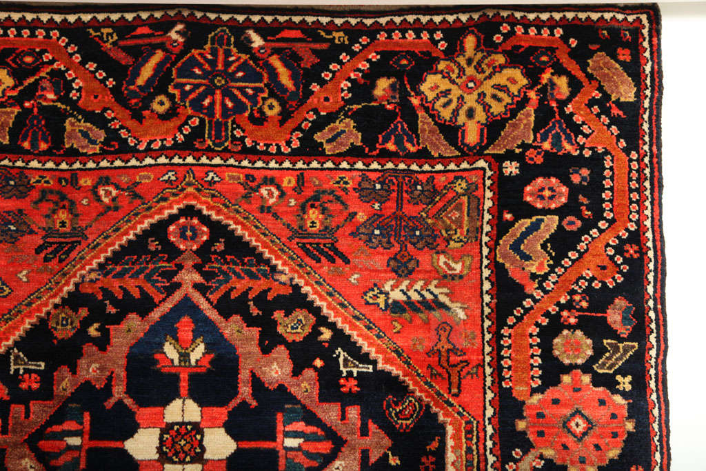 1900-1910 Persian Mishan Malayer Rug with Handspun Wool and Organic Vegetal Dyes For Sale 1