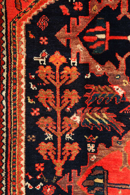 1900-1910 Persian Mishan Malayer Rug with Handspun Wool and Organic Vegetal Dyes For Sale 3