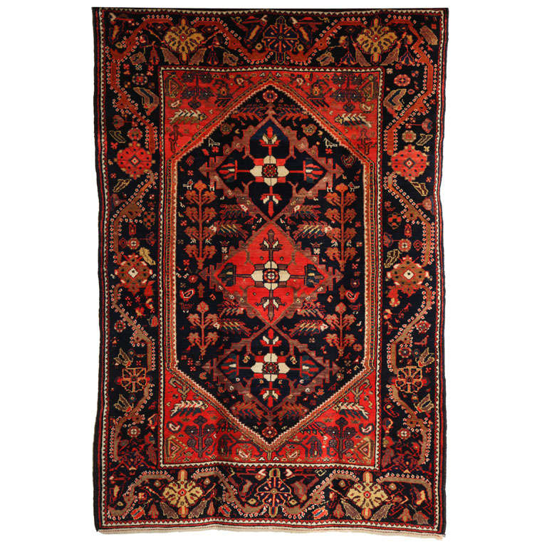 1900-1910 Persian Mishan Malayer Rug with Handspun Wool and Organic Vegetal Dyes For Sale