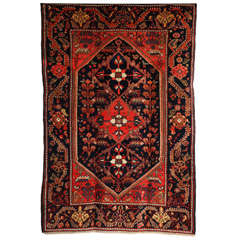 1900-1910 Persian Mishan Malayer Rug with Handspun Wool and Organic Vegetal Dyes
