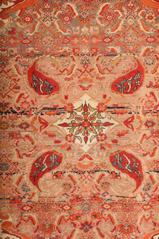 Hand-Knotted 1870-1880 Persian Mishan Malayer Rug in Handspun Wool and Organic Vegetable Dyes For Sale