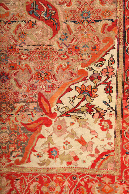 1870-1880 Persian Mishan Malayer Rug in Handspun Wool and Organic Vegetable Dyes In Excellent Condition For Sale In New York, NY