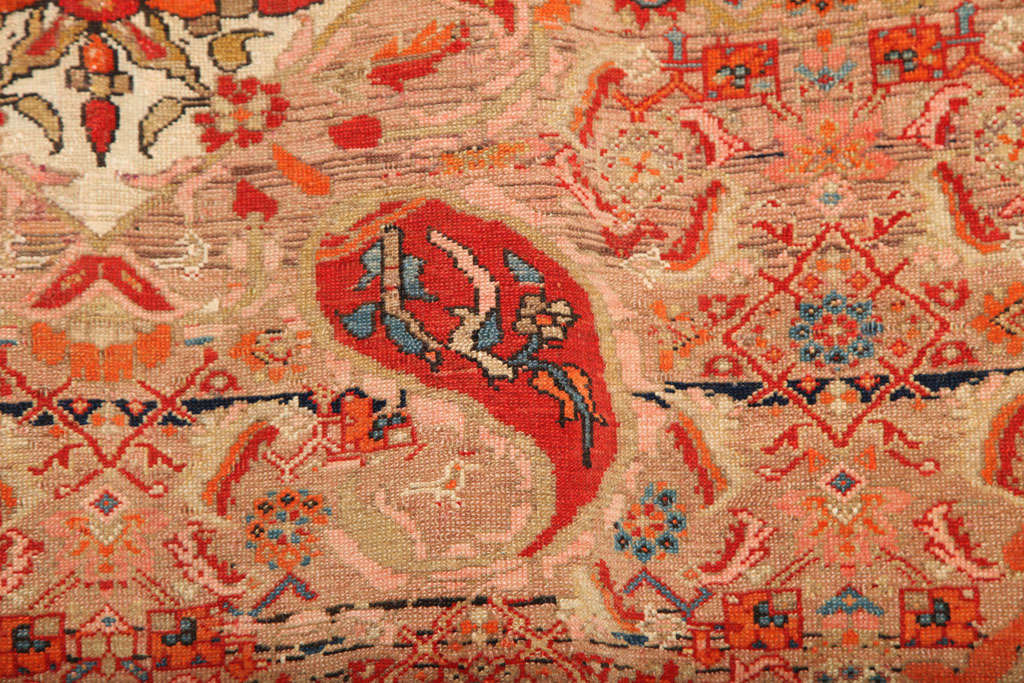 Late 19th Century 1870-1880 Persian Mishan Malayer Rug in Handspun Wool and Organic Vegetable Dyes For Sale