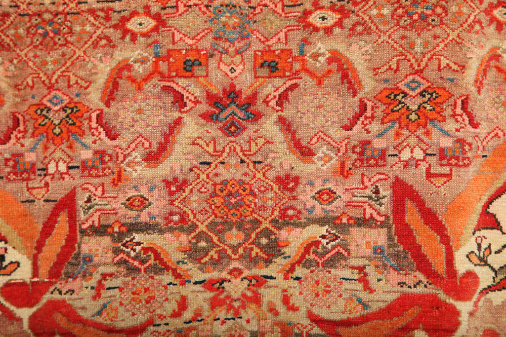 1870-1880 Persian Mishan Malayer Rug in Handspun Wool and Organic Vegetable Dyes For Sale 1