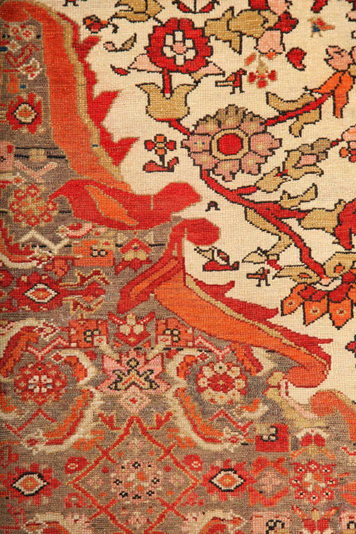 1870-1880 Persian Mishan Malayer Rug in Handspun Wool and Organic Vegetable Dyes For Sale 2