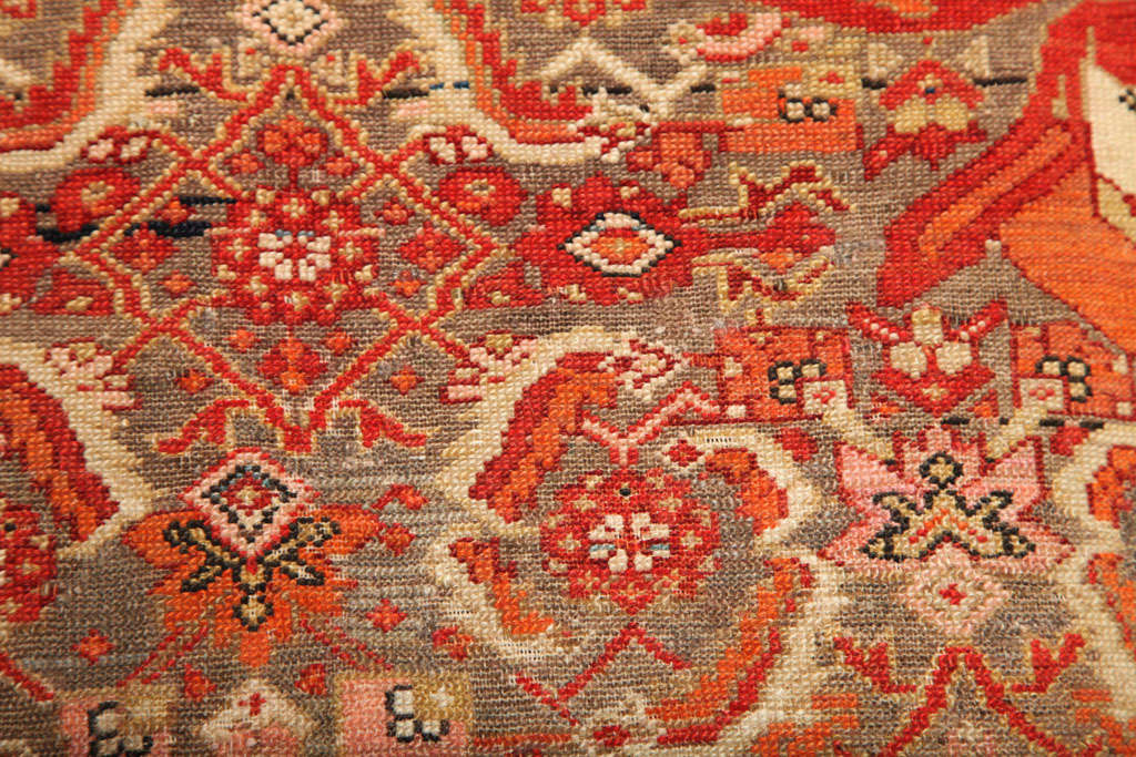 1870-1880 Persian Mishan Malayer Rug in Handspun Wool and Organic Vegetable Dyes For Sale 3