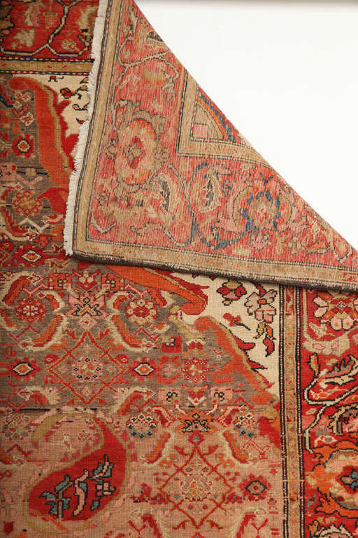 1870-1880 Persian Mishan Malayer Rug in Handspun Wool and Organic Vegetable Dyes For Sale 5