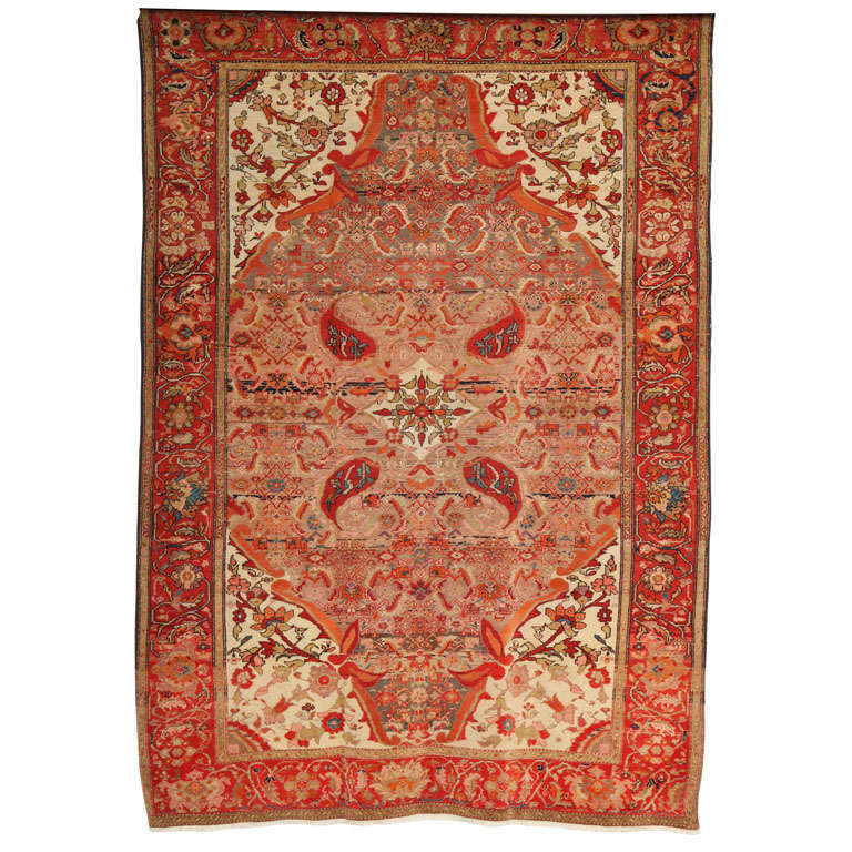 1870-1880 Persian Mishan Malayer Rug in Handspun Wool and Organic Vegetable Dyes For Sale