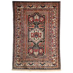 1880-1890 Persian Kashkooli Qashqai Rug in Pure Handspun Wool and Vegetal Dyes
