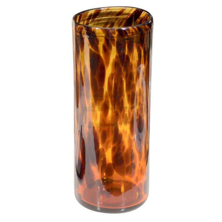 Faux Tortoise Shell Glass Vase At 1stdibs