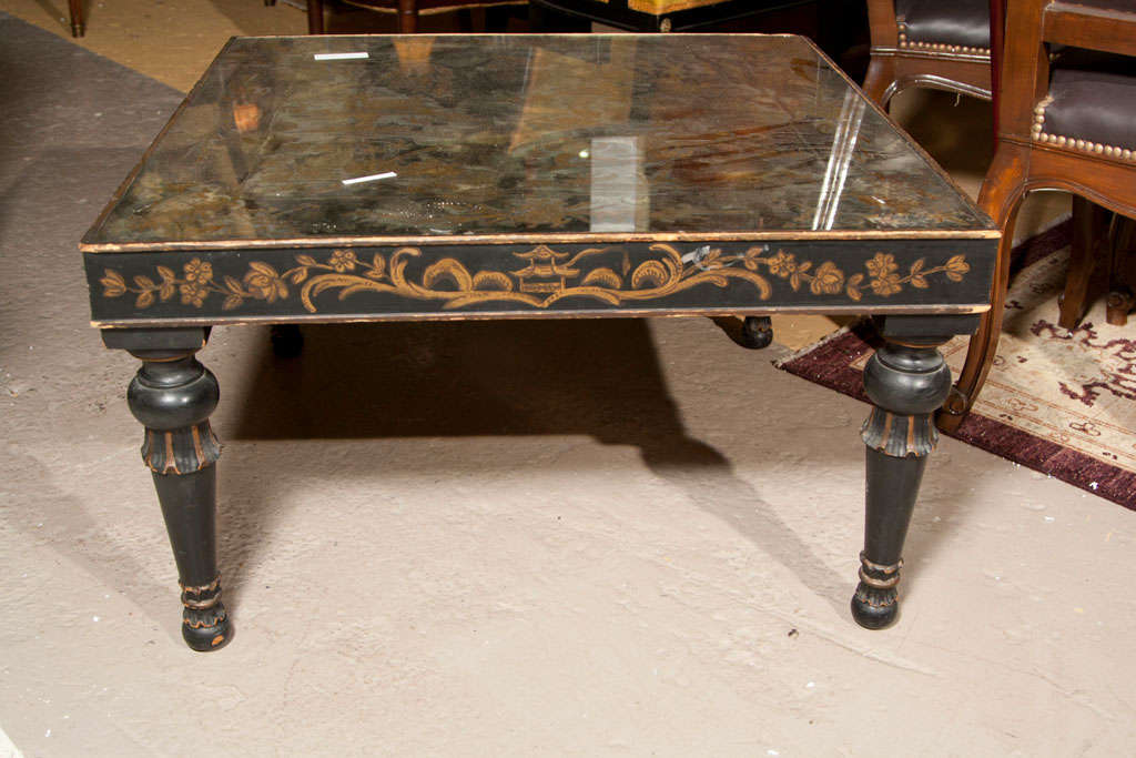 Argentine Chinoiserie Style Coffee Cocktail Table Stamped Jansen Eglomise Glass Hand Paint For Sale