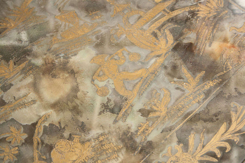 Chinoiserie Style Coffee Cocktail Table Stamped Jansen Eglomise Glass Hand Paint In Good Condition For Sale In Stamford, CT