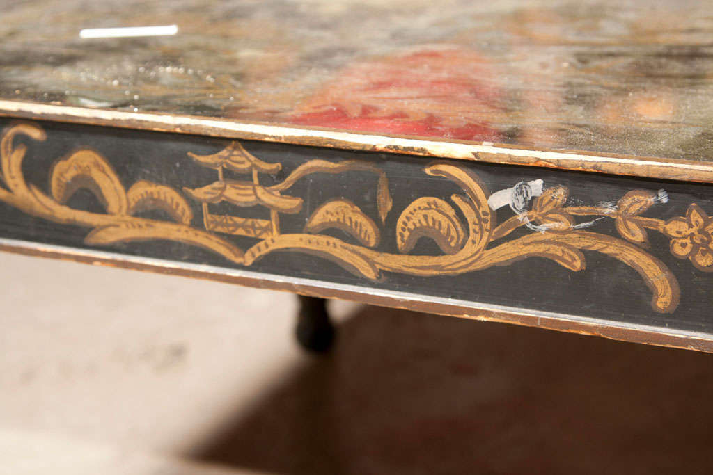 Chinoiserie Style Coffee Cocktail Table Stamped Jansen Eglomise Glass Hand Paint For Sale 2