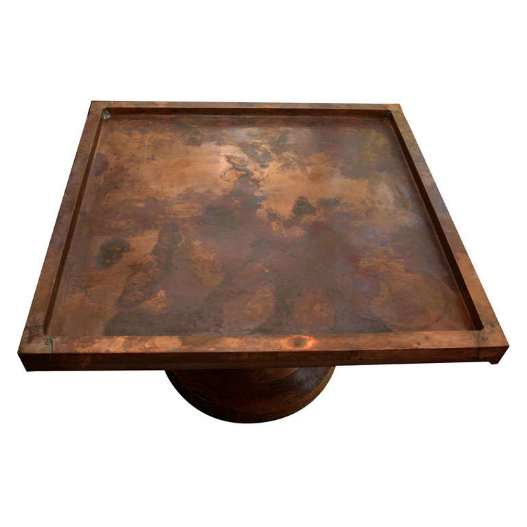 Copper top coffee table at 1stdibs for Table y copper