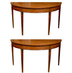 Pair of English 19th Century Hepplewhite Style Demilune Mahogany Tables