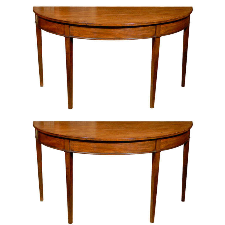 Pair of english mahogany demi lune tables for sale at 1stdibs - Table cuisine demi lune ...