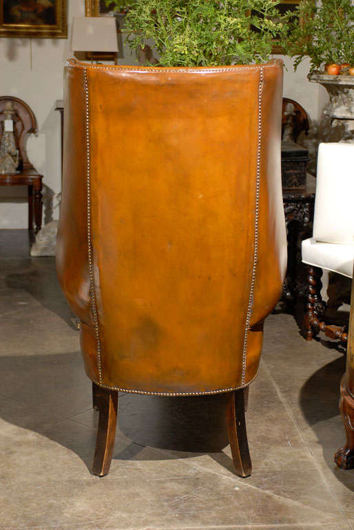 Very Tall English Leather Chair At 1stdibs