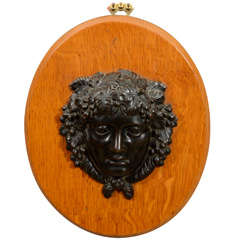 19th Century Victorian Bronze Relief Sculpture of Bacchus on an Oak Plaque
