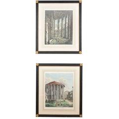 Pair of 1819 Engravings by Rossini of  Roman Temple of Vesta
