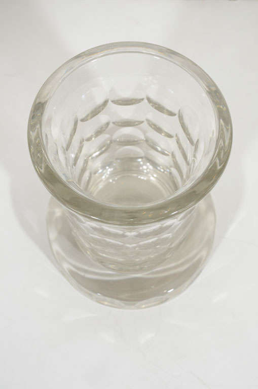 Mid-20th Century French Art Deco Glass Etched Vase by Jean Luce For Sale
