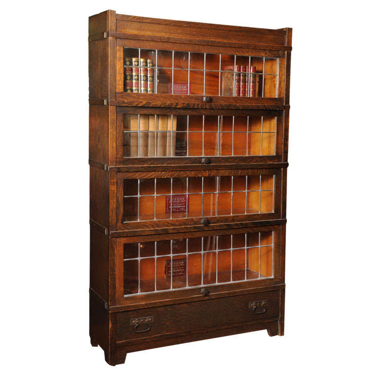 Arts and crafts bookcase with leaded glass at 1stdibs for Arts and crafts bookshelf