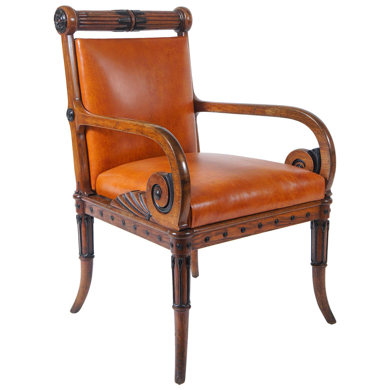 Unusual late regency oak and ebony armchair circa 1825 at for Furniture 1825