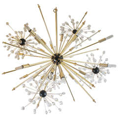 """Custom """"Etoile"""" with Crystal Satellites Chandelier, made in the USA by Lou Blass"""